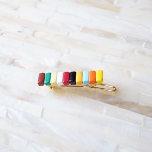 Rainbow Enamel Beads Hair Clip